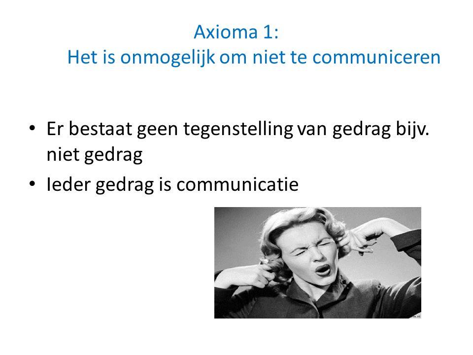 Axioma 1: Het is onmogelijk om niet te communiceren Er bestaat geen tegenstelling van gedrag bijv. niet gedrag Ieder gedrag is communicatie