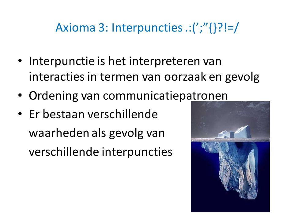 """Axioma 3: Interpuncties.:(';""""{}?!=/ Interpunctie is het interpreteren van interacties in termen van oorzaak en gevolg Ordening van communicatiepatrone"""