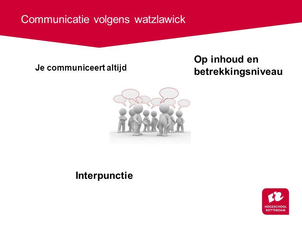 Communicatie volgens watzlawick Je communiceert altijd Op inhoud en betrekkingsniveau Interpunctie
