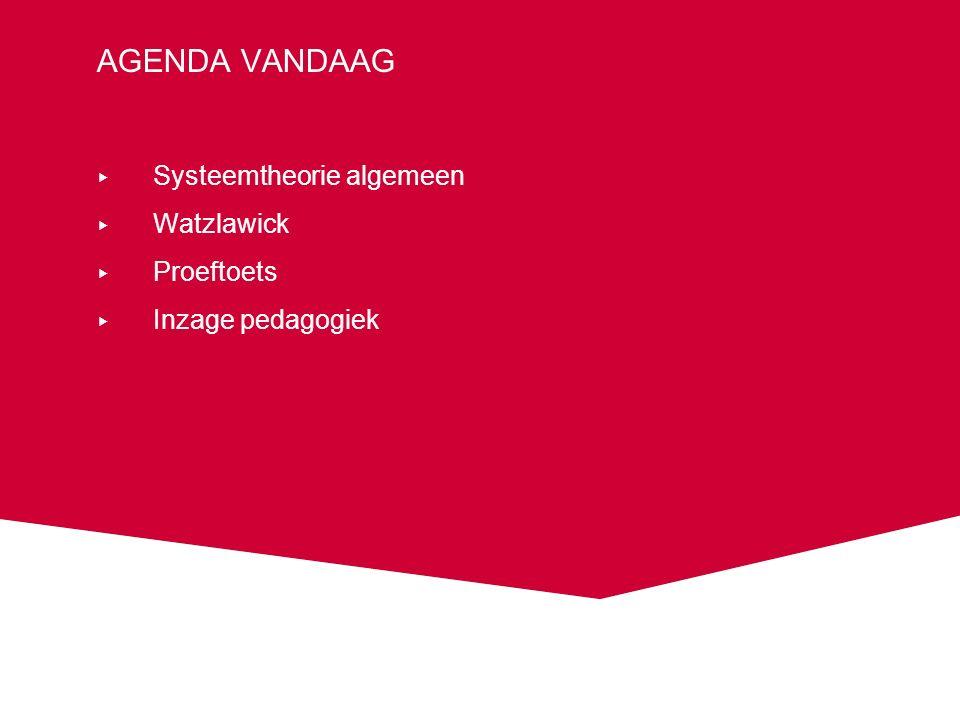 AGENDA VANDAAG ▸ Systeemtheorie algemeen ▸ Watzlawick ▸ Proeftoets ▸ Inzage pedagogiek
