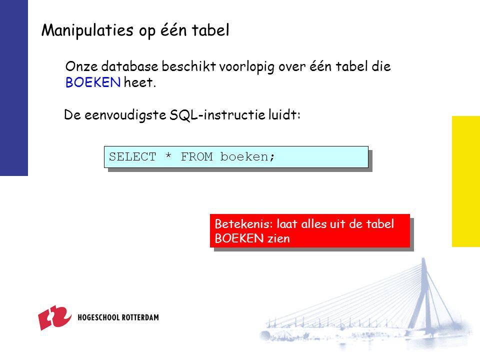 Manipulaties op één tabel Onze database beschikt voorlopig over één tabel die BOEKEN heet.