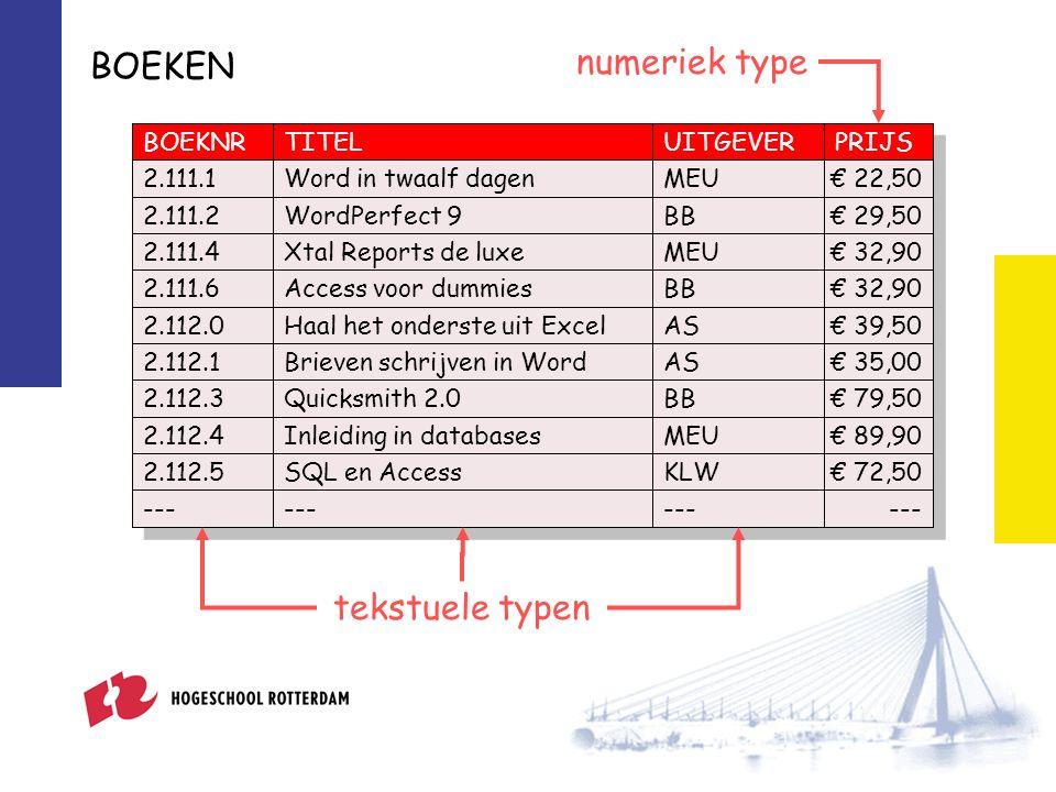 BOEKEN BOEKNRTITELUITGEVERPRIJS 2.111.1Word in twaalf dagenMEU€ 22,50 2.111.2WordPerfect 9BB€ 29,50 2.111.4Xtal Reports de luxeMEU€ 32,90 2.111.6Access voor dummiesBB€ 32,90 2.112.0Haal het onderste uit ExcelAS€ 39,50 2.112.1Brieven schrijven in WordAS€ 35,00 2.112.3Quicksmith 2.0BB€ 79,50 2.112.4Inleiding in databasesMEU€ 89,90 2.112.5SQL en AccessKLW€ 72,50 --- tekstuele typen numeriek type