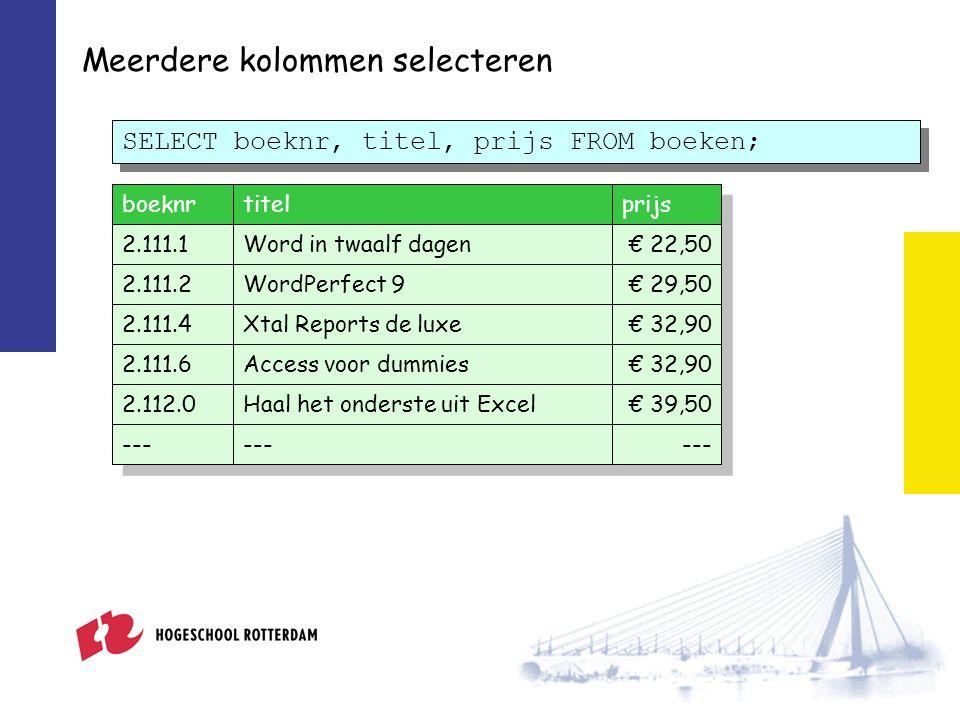 Meerdere kolommen selecteren SELECT boeknr, titel, prijs FROM boeken; boeknrtitelprijs 2.111.1Word in twaalf dagen€ 22,50 2.111.2WordPerfect 9€ 29,50 2.111.4Xtal Reports de luxe€ 32,90 2.111.6Access voor dummies€ 32,90 2.112.0Haal het onderste uit Excel€ 39,50 ---