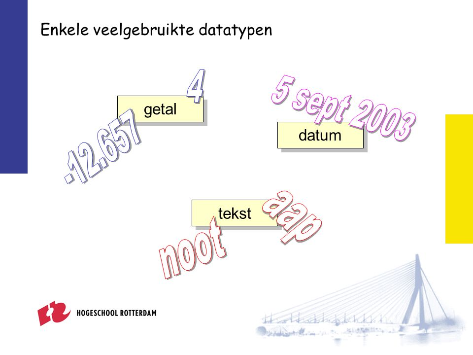 numeriek gegeven 26 26.33 tekstueel gegeven aap broodje aap datum #5-9-2003# #11 october 2007# Datatypen in Microsoft JetSQL Engelstalig eigenwijs