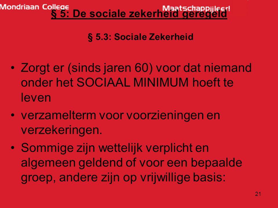 20 § 5: De sociale zekerheid geregeld § 5.1 Typen verzorgingsstaten: Liberale/ Angelsaksische: -Zelfredzaamheid, particulier initiatief en vrijheid ce