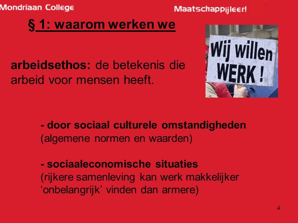 4 § 1: waarom werken we arbeidsethos: de betekenis die arbeid voor mensen heeft.