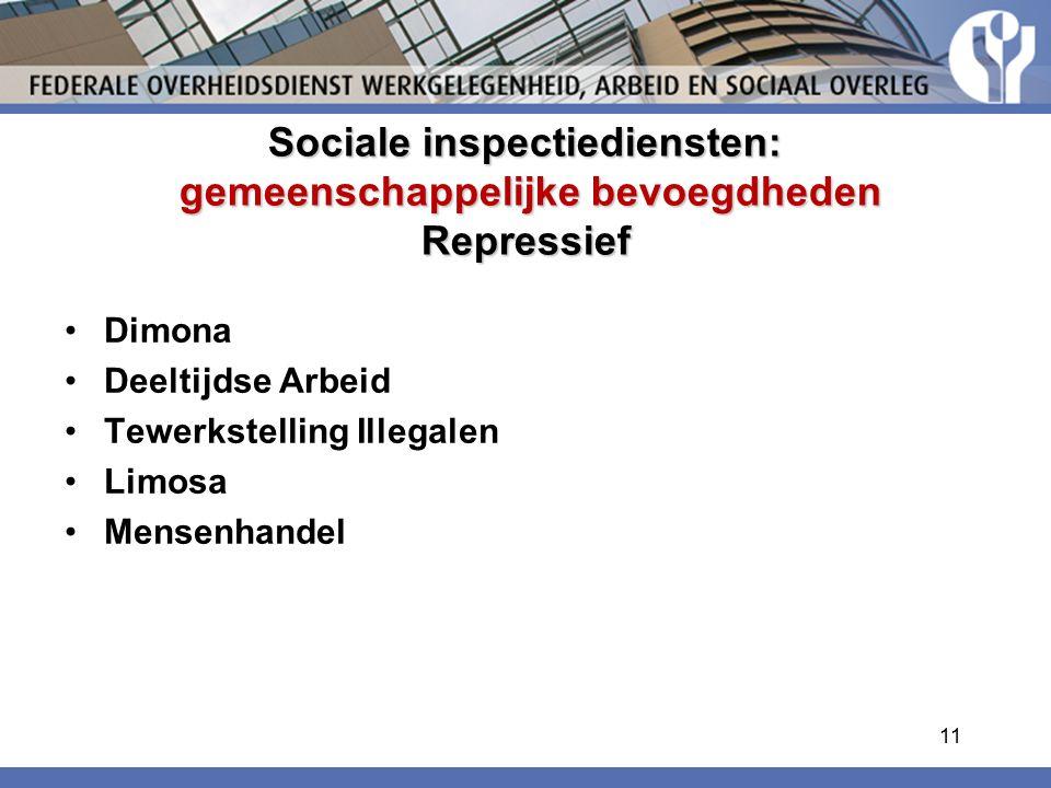 Sociale inspectiediensten: gemeenschappelijke bevoegdheden Repressief Dimona Deeltijdse Arbeid Tewerkstelling Illegalen Limosa Mensenhandel 11