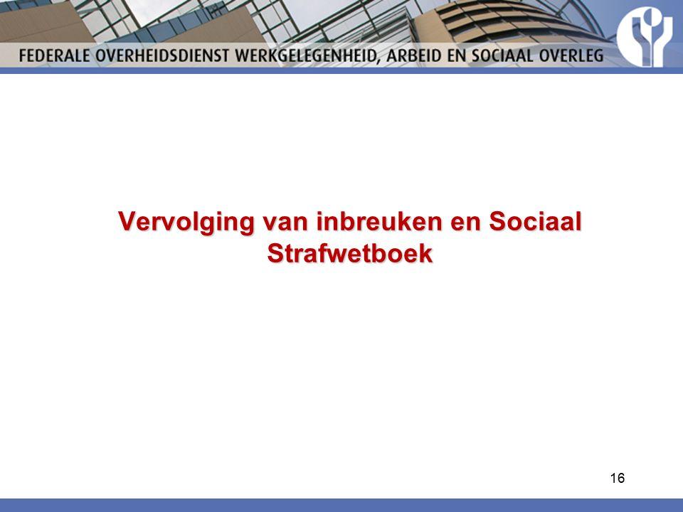 Vervolging van inbreuken en Sociaal Strafwetboek 16