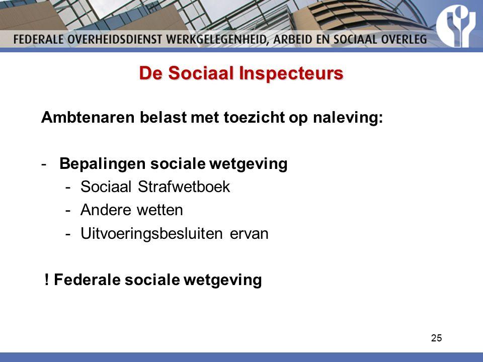 De Sociaal Inspecteurs Ambtenaren belast met toezicht op naleving: -Bepalingen sociale wetgeving -Sociaal Strafwetboek -Andere wetten -Uitvoeringsbesluiten ervan .