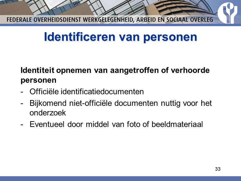 Identificeren van personen Identiteit opnemen van aangetroffen of verhoorde personen -Officiële identificatiedocumenten -Bijkomend niet-officiële documenten nuttig voor het onderzoek -Eventueel door middel van foto of beeldmateriaal 33