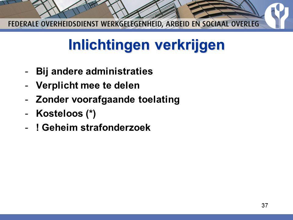 Inlichtingen verkrijgen -Bij andere administraties -Verplicht mee te delen -Zonder voorafgaande toelating -Kosteloos (*) -.