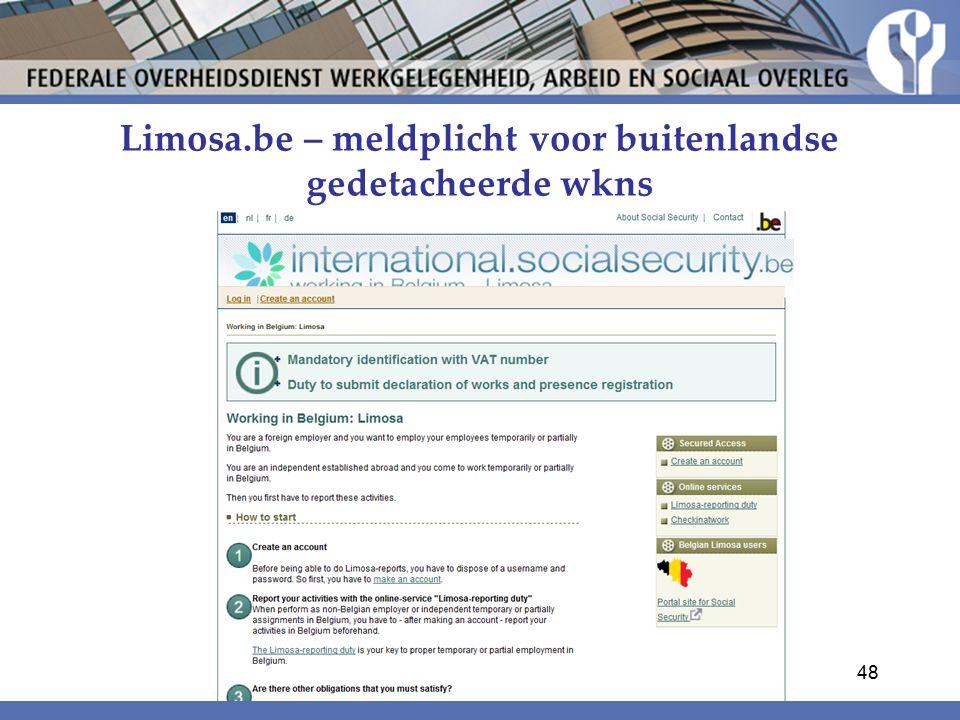 Limosa.be – meldplicht voor buitenlandse gedetacheerde wkns 48