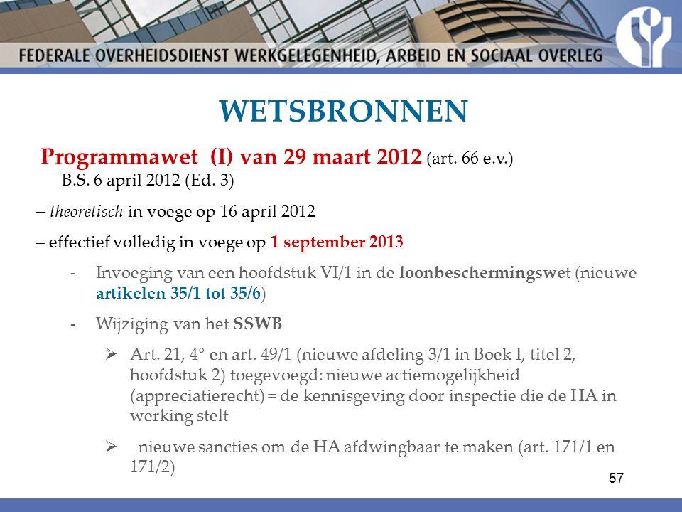 WETSBRONNEN Programmawet (I) van 29 maart 2012 (art.