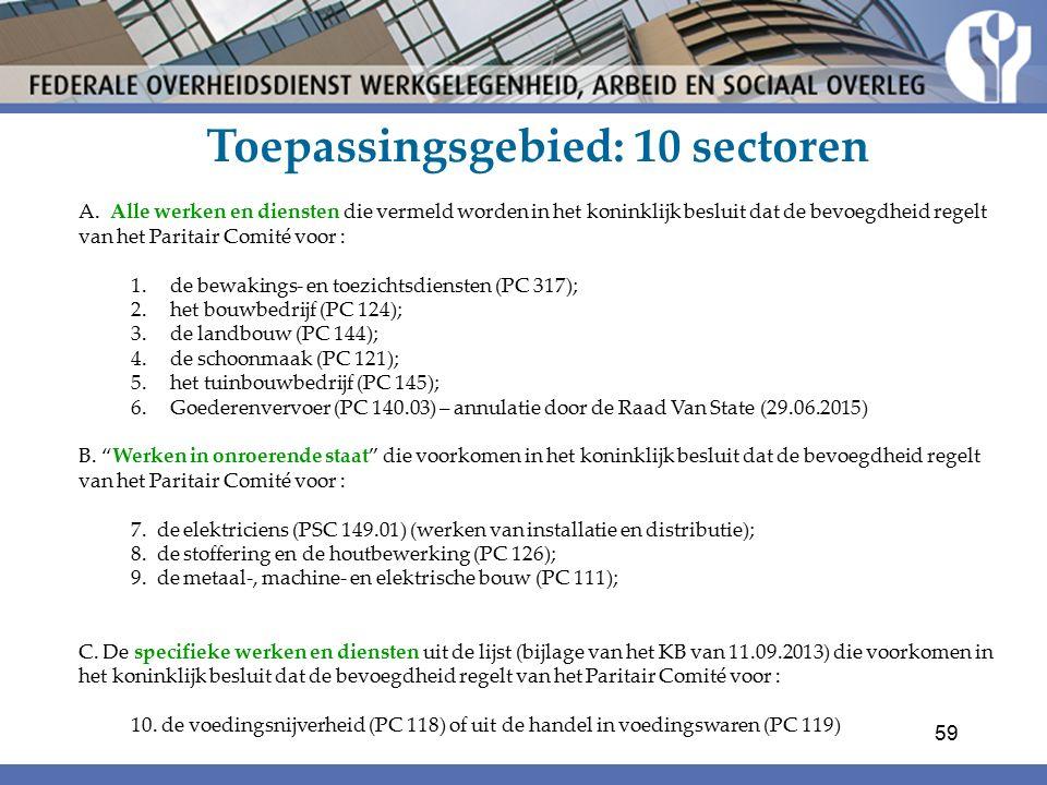 Toepassingsgebied: 10 sectoren A.
