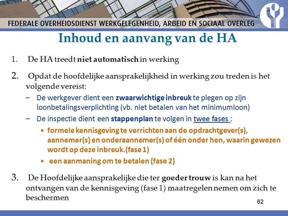 Inhoud en aanvang van de HA 1. De HA treedt niet automatisch in werking 2.
