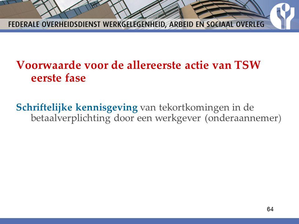 Voorwaarde voor de allereerste actie van TSW eerste fase Schriftelijke kennisgeving van tekortkomingen in de betaalverplichting door een werkgever (onderaannemer) 64