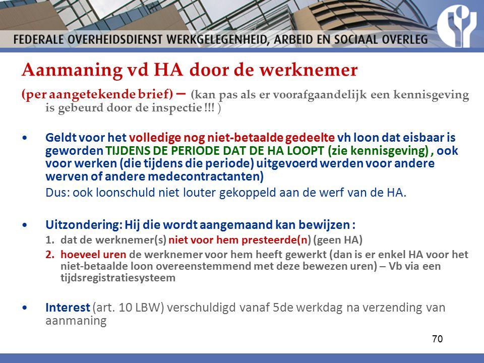Aanmaning vd HA door de werknemer (per aangetekende brief) – (kan pas als er voorafgaandelijk een kennisgeving is gebeurd door de inspectie !!.