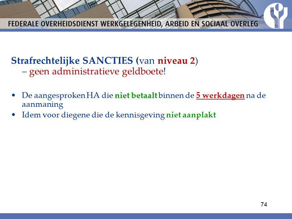 Strafrechtelijke SANCTIES (van niveau 2) – geen administratieve geldboete.