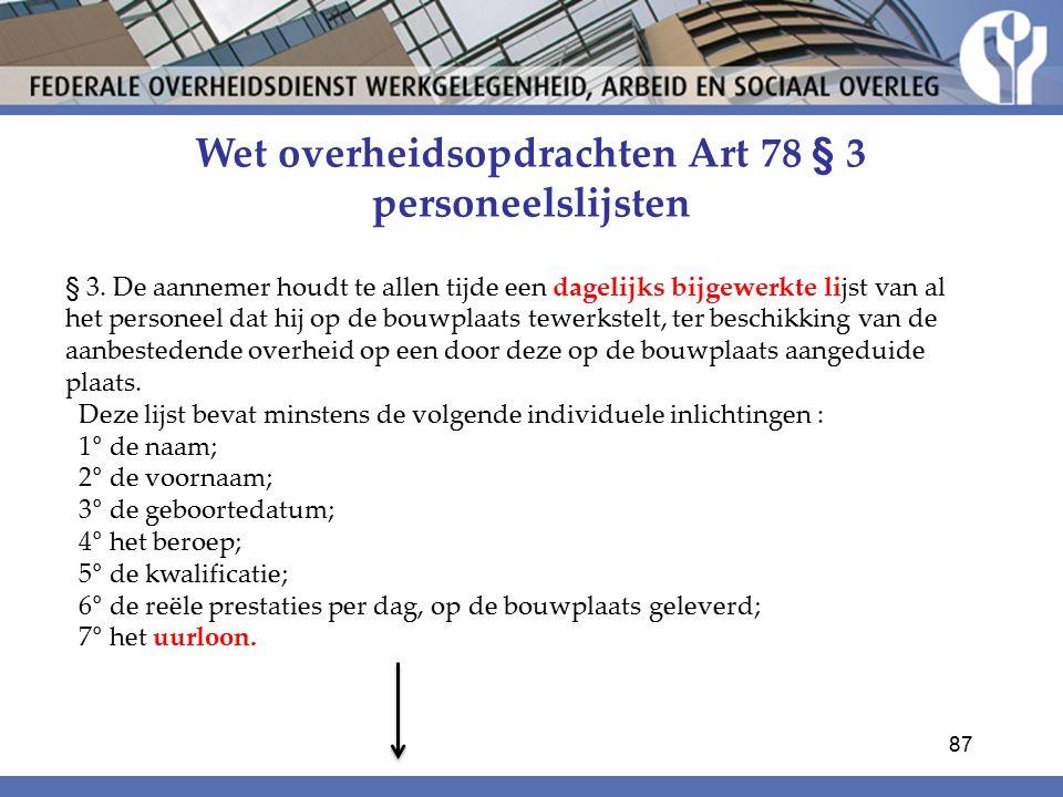 Wet overheidsopdrachten Art 78 § 3 personeelslijsten § 3.