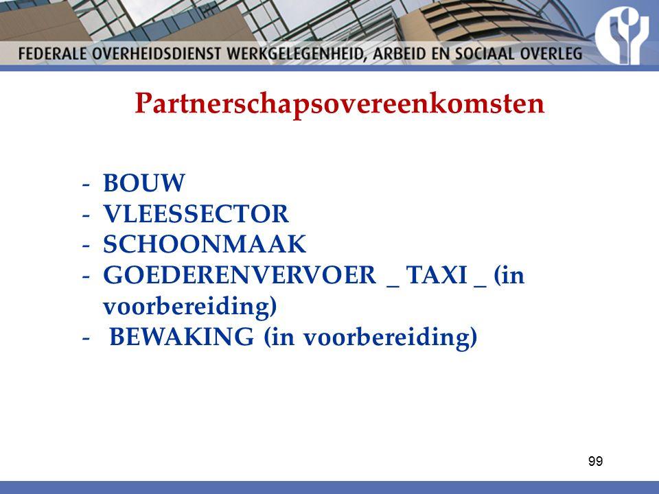 Partnerschapsovereenkomsten -BOUW -VLEESSECTOR -SCHOONMAAK -GOEDERENVERVOER _ TAXI _ (in voorbereiding) - BEWAKING (in voorbereiding) 99