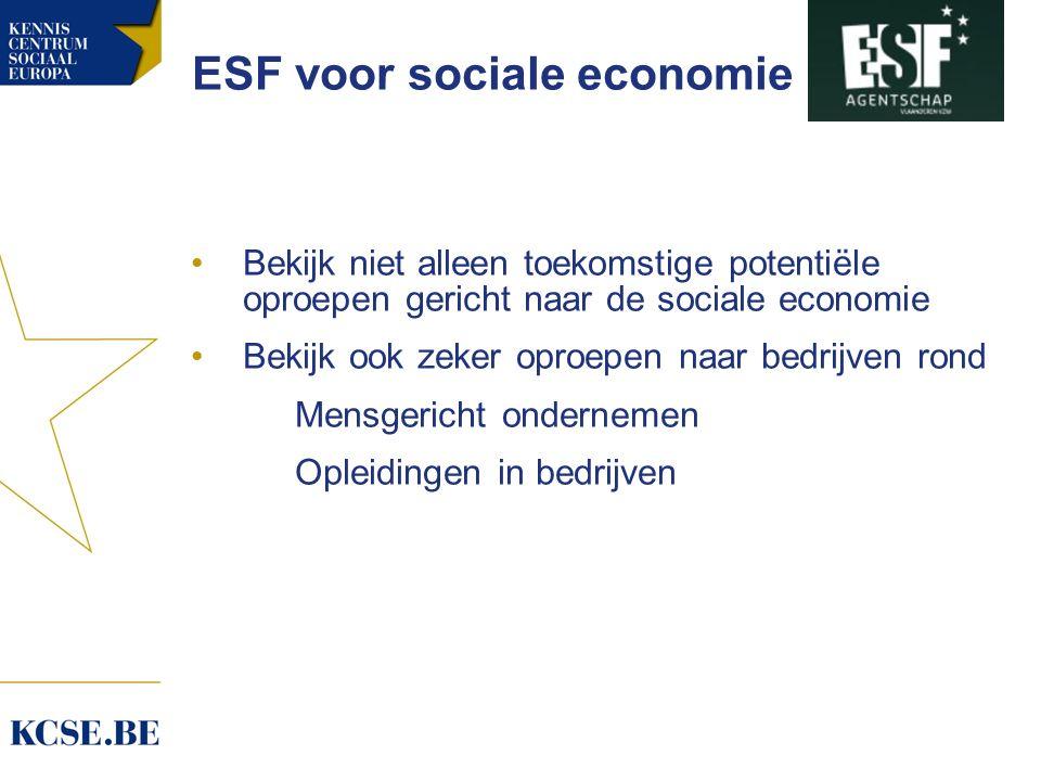 ESF voor sociale economie Bekijk niet alleen toekomstige potentiële oproepen gericht naar de sociale economie Bekijk ook zeker oproepen naar bedrijven rond Mensgericht ondernemen Opleidingen in bedrijven