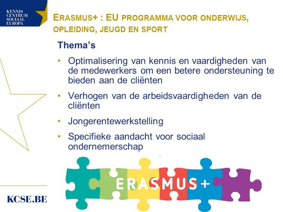 E RASMUS + : EU PROGRAMMA VOOR ONDERWIJS, OPLEIDING, JEUGD EN SPORT Thema's Optimalisering van kennis en vaardigheden van de medewerkers om een betere ondersteuning te bieden aan de cliënten Verhogen van de arbeidsvaardigheden van de cliënten Jongerentewerkstelling Specifieke aandacht voor sociaal ondernemerschap