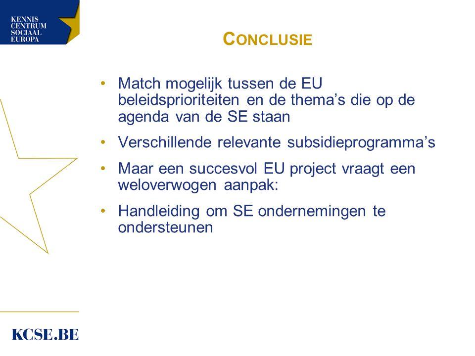 C ONCLUSIE Match mogelijk tussen de EU beleidsprioriteiten en de thema's die op de agenda van de SE staan Verschillende relevante subsidieprogramma's