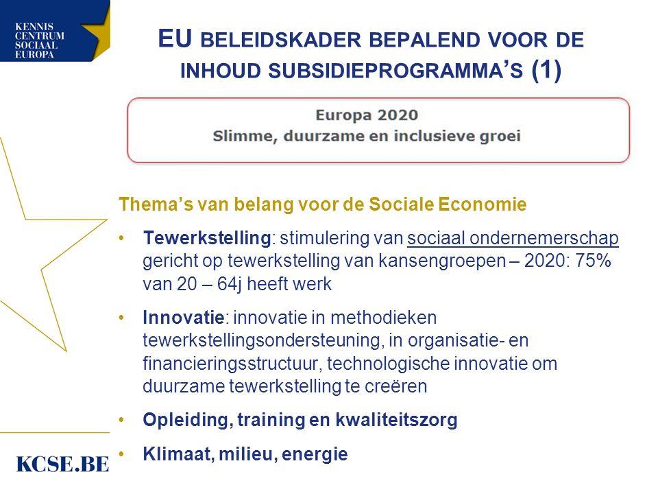 EU BELEIDSKADER BEPALEND VOOR DE INHOUD SUBSIDIEPROGRAMMA ' S (1) Thema's van belang voor de Sociale Economie Tewerkstelling: stimulering van sociaal ondernemerschap gericht op tewerkstelling van kansengroepen – 2020: 75% van 20 – 64j heeft werk Innovatie: innovatie in methodieken tewerkstellingsondersteuning, in organisatie- en financieringsstructuur, technologische innovatie om duurzame tewerkstelling te creëren Opleiding, training en kwaliteitszorg Klimaat, milieu, energie