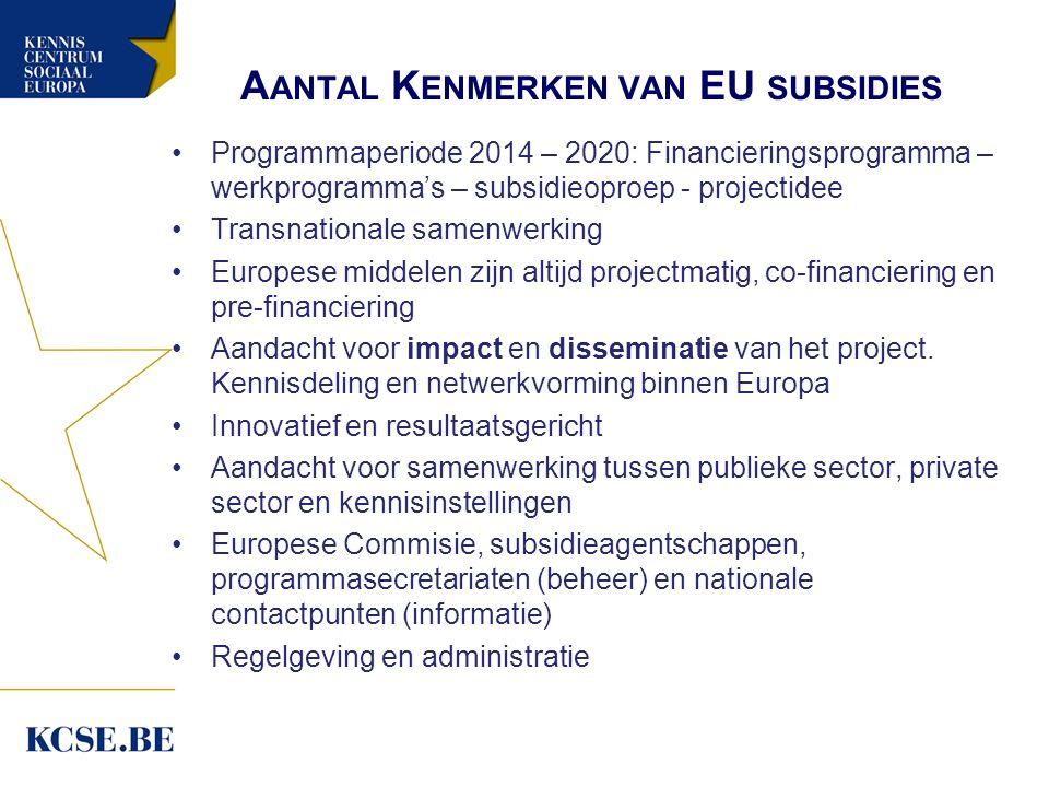 A ANTAL K ENMERKEN VAN EU SUBSIDIES Programmaperiode 2014 – 2020: Financieringsprogramma – werkprogramma's – subsidieoproep - projectidee Transnationa