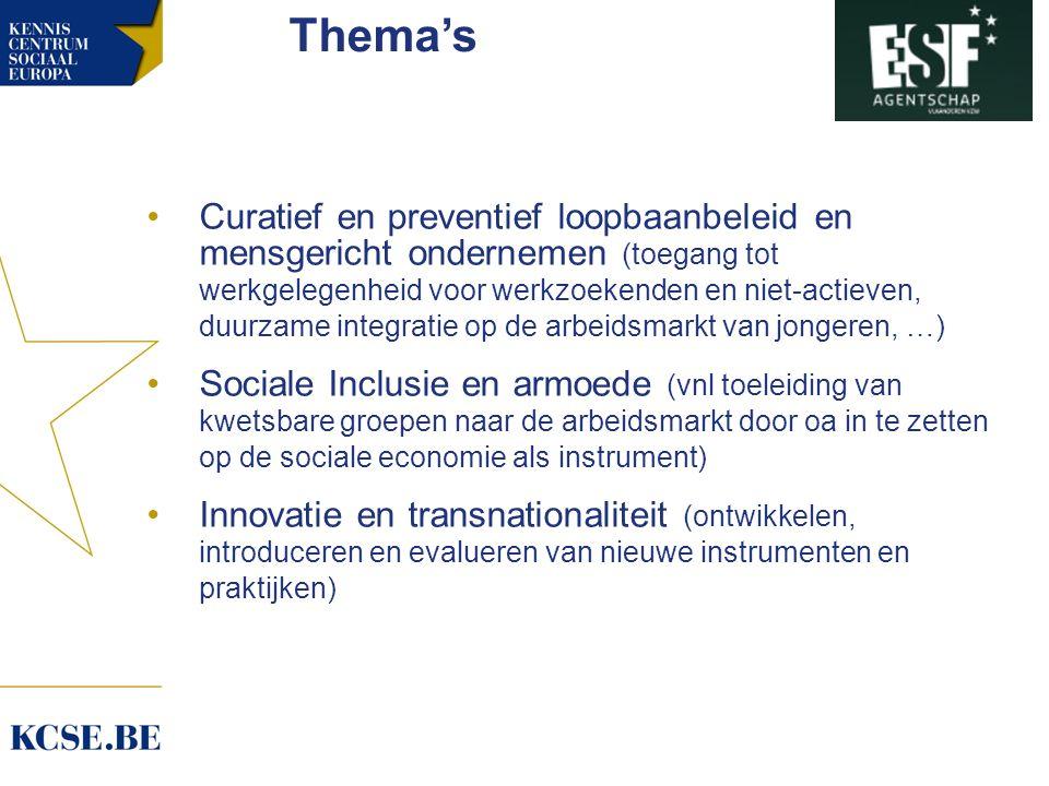Thema's Curatief en preventief loopbaanbeleid en mensgericht ondernemen (toegang tot werkgelegenheid voor werkzoekenden en niet-actieven, duurzame integratie op de arbeidsmarkt van jongeren, …) Sociale Inclusie en armoede (vnl toeleiding van kwetsbare groepen naar de arbeidsmarkt door oa in te zetten op de sociale economie als instrument) Innovatie en transnationaliteit (ontwikkelen, introduceren en evalueren van nieuwe instrumenten en praktijken)