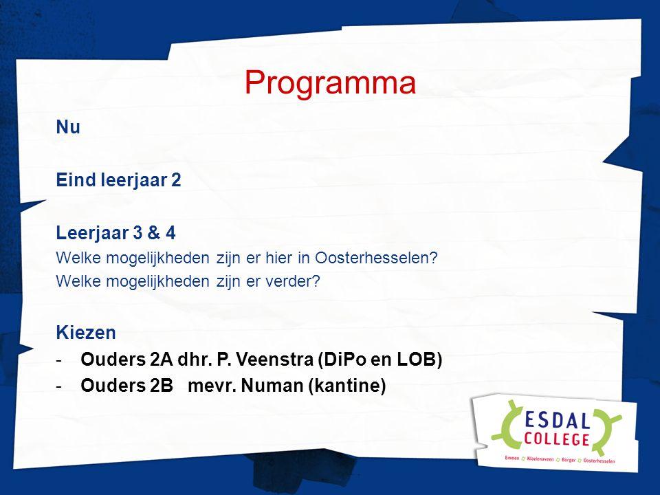Programma Nu Eind leerjaar 2 Leerjaar 3 & 4 Welke mogelijkheden zijn er hier in Oosterhesselen.