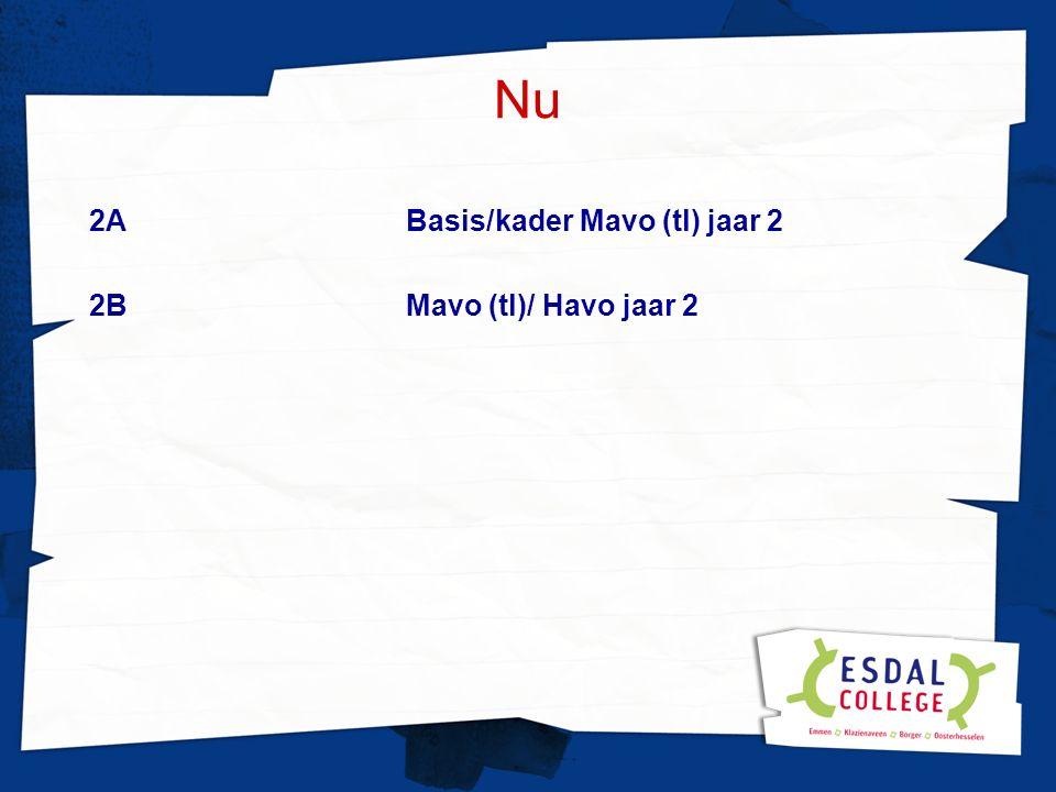 Nu 2A Basis/kader Mavo (tl) jaar 2 2BMavo (tl)/ Havo jaar 2