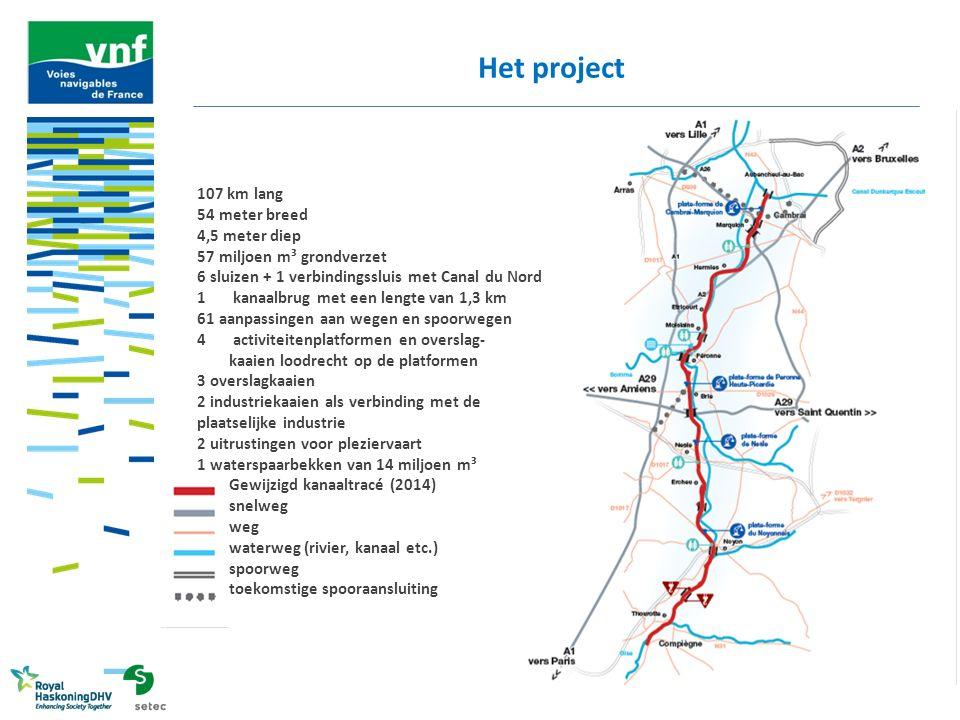 Het project 107 km lang 54 meter breed 4,5 meter diep 57 miljoen m³ grondverzet 6 sluizen + 1 verbindingssluis met Canal du Nord 1kanaalbrug met een l