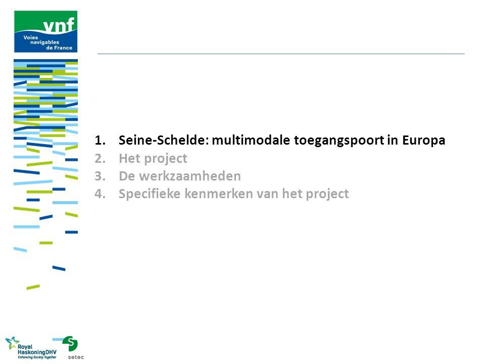 Seine-Schelde: multimodale toegangspoort in Europa Een prioritair project: de rivierverbinding voor schepen met grote tonnenmaat van de corridor Noordzee- Middellandse Zee om de interne Europese economie en de handel met de rest van de wereld via haar grote zeehavens te dienen Een modal shift project dat de verzadigde verkeersaders en stedelijke knooppunten (A1, A2, A16, A25, A26, A29 enz.) filevrij kan maken Gelegen in het hart van het net van Europese multimodale corridors: -Atlantische Oceaan -Noordzee-Oostzee -Rijn-Alpen -Middellandse Zee Hoge Europese toegevoegde waarde