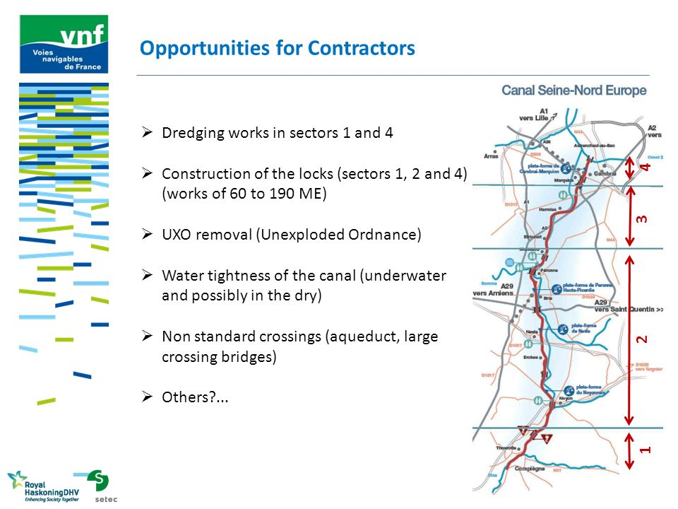 Opportunities for Contractors  Dredging works in sectors 1 and 4  Construction of the locks (sectors 1, 2 and 4) (works of 60 to 190 ME)  UXO remov