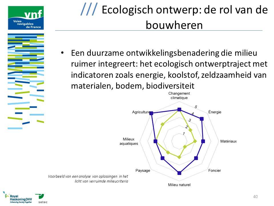 40 /// Ecologisch ontwerp: de rol van de bouwheren Een duurzame ontwikkelingsbenadering die milieu ruimer integreert: het ecologisch ontwerptraject me