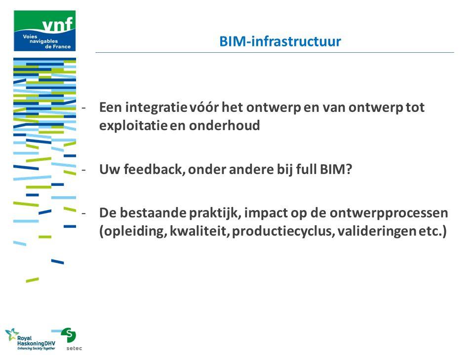 -Een integratie vóór het ontwerp en van ontwerp tot exploitatie en onderhoud -Uw feedback, onder andere bij full BIM? -De bestaande praktijk, impact o