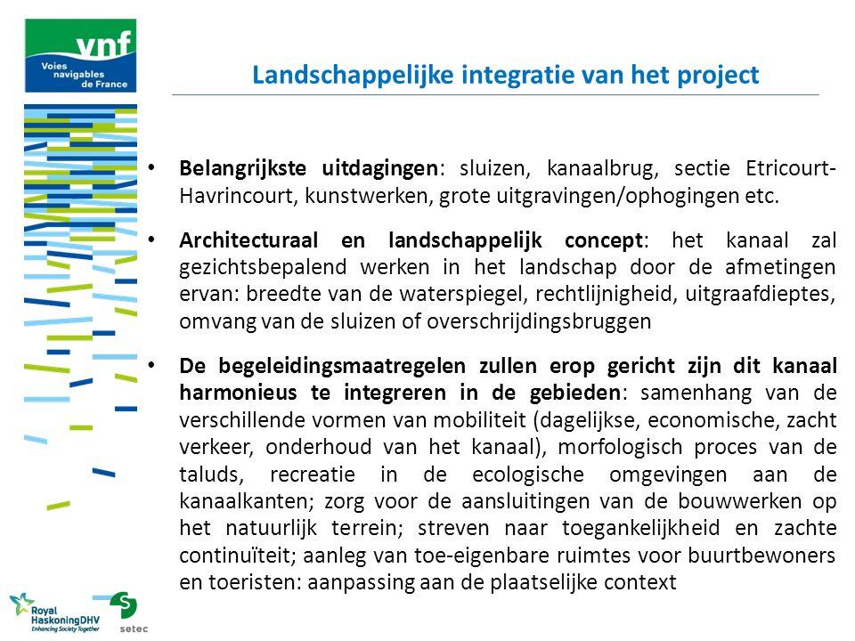 Belangrijkste uitdagingen: sluizen, kanaalbrug, sectie Etricourt- Havrincourt, kunstwerken, grote uitgravingen/ophogingen etc. Architecturaal en lands