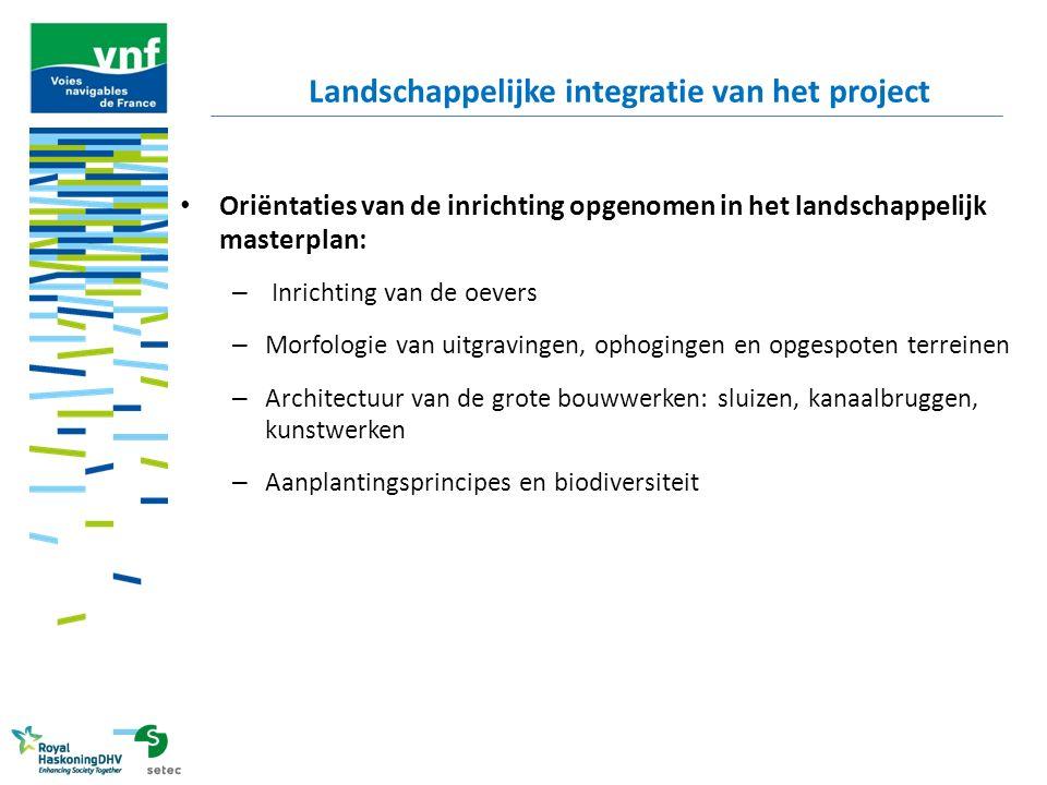 Oriëntaties van de inrichting opgenomen in het landschappelijk masterplan: – Inrichting van de oevers – Morfologie van uitgravingen, ophogingen en opg