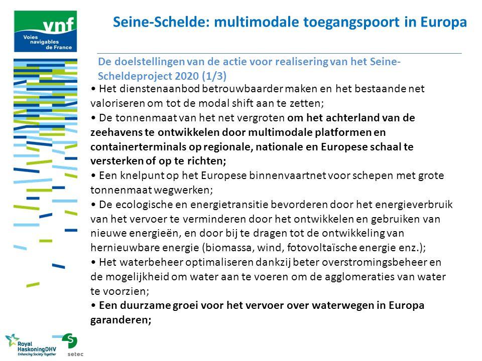 Seine-Schelde: multimodale toegangspoort in Europa De doelstellingen van de actie voor realisering van het Seine- Scheldeproject 2020 (2/3) De industrie beter laten presteren met een zuinigere logistiek die beter geïntegreerd is in de bedrijfskolommen (landbouw en agro-industrie, bouwmaterialen, chemie, auto-industrie etc.) en met de invoering van een efficiënte en zuinige logistiek voor de kringloopeconomie (recyclage van materialen, staal, glas, papier, auto s enz.); Innovatie op het gebied van havenlogistiek stimuleren, onder meer wat het opkomende aanbod van pakketten die vervoer over waterwegen en per spoor combineren, betreft; Investeringen van Franse, Belgische, Europese en internationale ondernemingen die aan een waterweg gelegen zijn bevorderen wanneer zij investeren in een nieuwe industriële corridor tussen het Grand Bassin Parisien en het Noorden van Frankrijk, de Benelux en Europa; Bijdragen aan ontwikkelingsstrategieën voor massale verbindingen tussen zee- en binnenhavens van de corridor Noordzee-Middellandse Zee; De vrachtverbindingen ontwikkelen in het hart van de grote agglomeraties en de belangrijkste verstedelijkte gebieden;