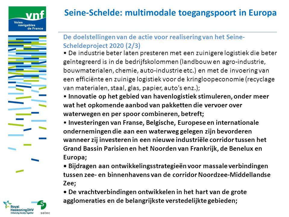 Seine-Schelde: multimodale toegangspoort in Europa De doelstellingen van de actie voor realisering van het Seine- Scheldeproject 2020 (2/3) De industr