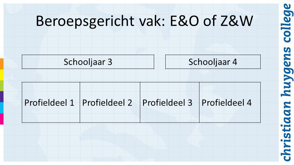 Beroepsgericht vak: E&O of Z&W Schooljaar 3Schooljaar 4 Profieldeel 1Profieldeel 2Profieldeel 3Profieldeel 4