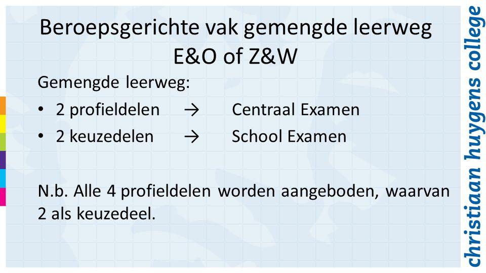 Beroepsgerichte vak gemengde leerweg E&O of Z&W Gemengde leerweg: 2 profieldelen→Centraal Examen 2 keuzedelen→School Examen N.b.