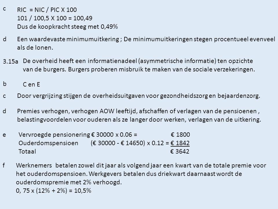 c RIC = NIC / PIC X 100 101 / 100,5 X 100 = 100,49 Dus de koopkracht steeg met 0,49% dEen waardevaste minimumuitkering ; De minimumuitkeringen stegen procentueel evenveel als de lonen.