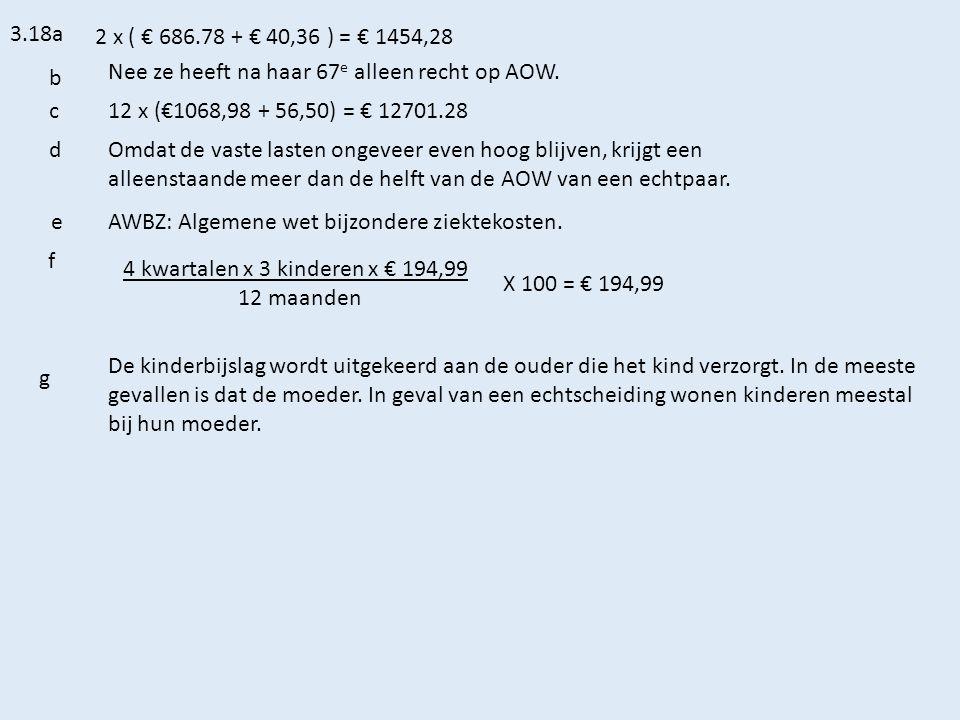3.18a 2 x ( € 686.78 + € 40,36 ) = € 1454,28 b Nee ze heeft na haar 67 e alleen recht op AOW.