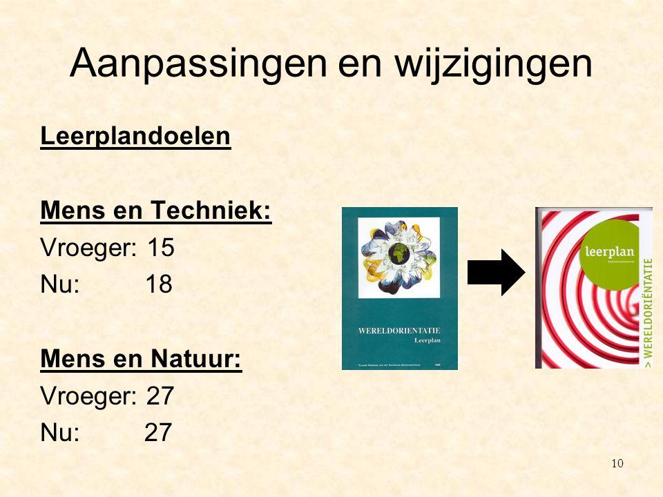 Aanpassingen en wijzigingen Leerplandoelen Mens en Techniek: Vroeger: 15 Nu: 18 Mens en Natuur: Vroeger: 27 Nu: 27 10