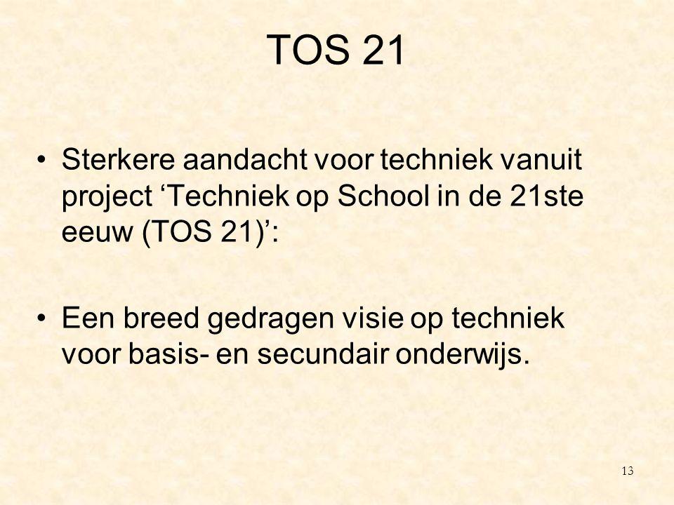 TOS 21 Sterkere aandacht voor techniek vanuit project 'Techniek op School in de 21ste eeuw (TOS 21)': Een breed gedragen visie op techniek voor basis-