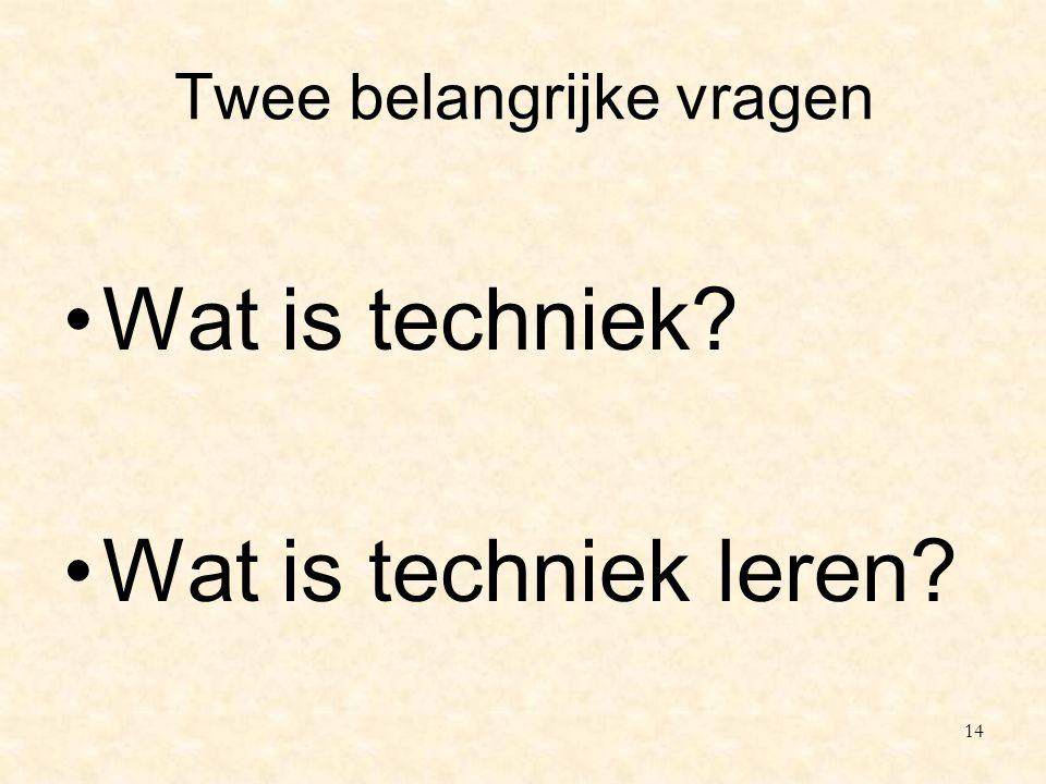 Twee belangrijke vragen Wat is techniek? Wat is techniek leren? 14