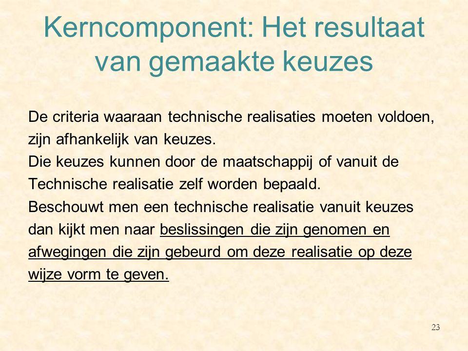 Kerncomponent: Het resultaat van gemaakte keuzes De criteria waaraan technische realisaties moeten voldoen, zijn afhankelijk van keuzes. Die keuzes ku