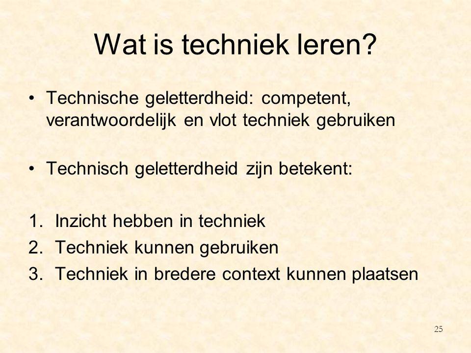 Wat is techniek leren? Technische geletterdheid: competent, verantwoordelijk en vlot techniek gebruiken Technisch geletterdheid zijn betekent: 1.Inzic